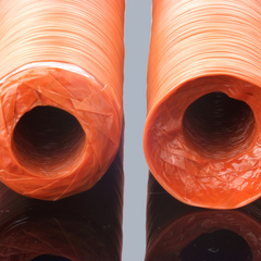Orange synthetic casings