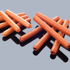 Shirred hot dog casings